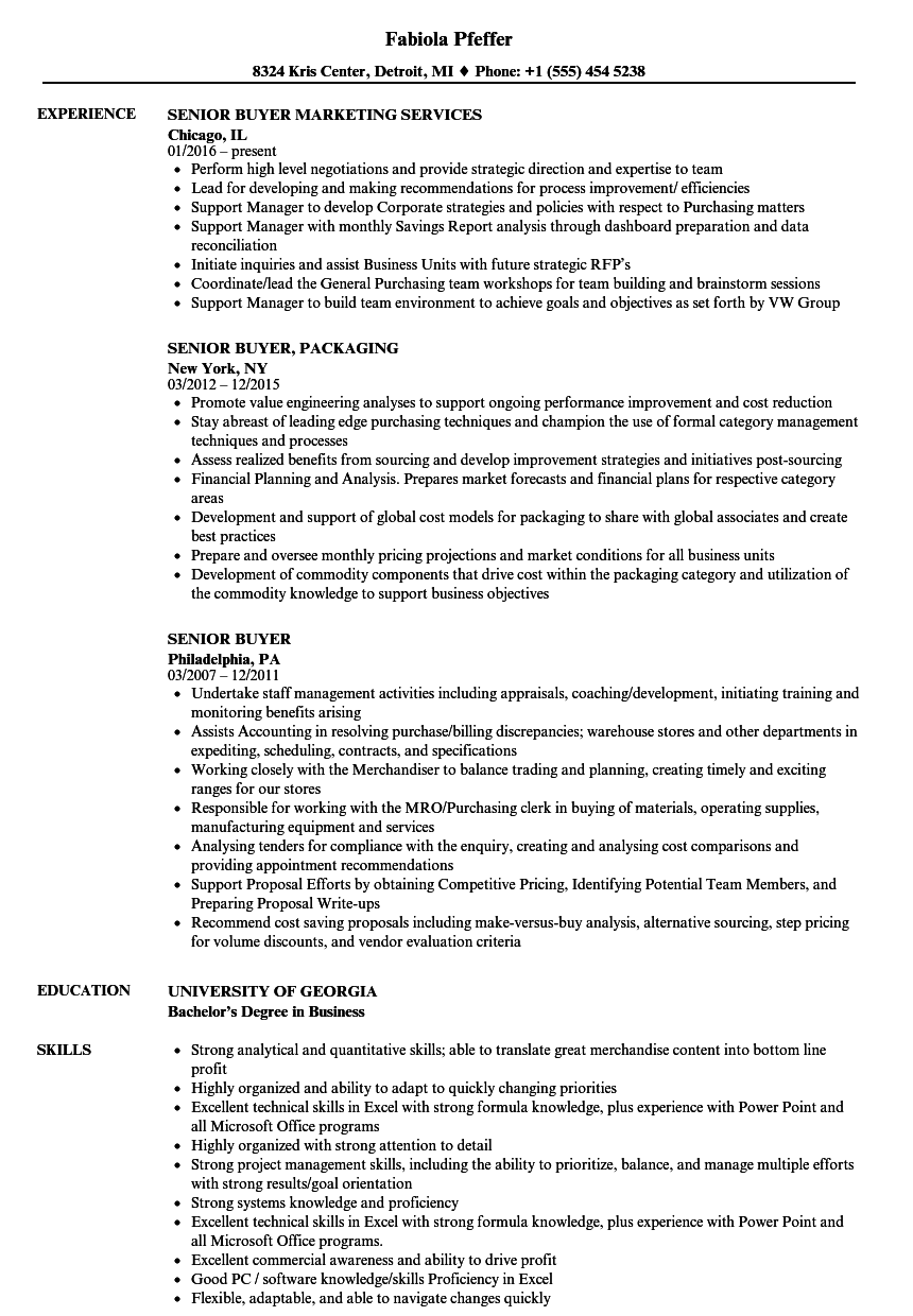 Senior Buyer Resume Samples | Velvet Jobs