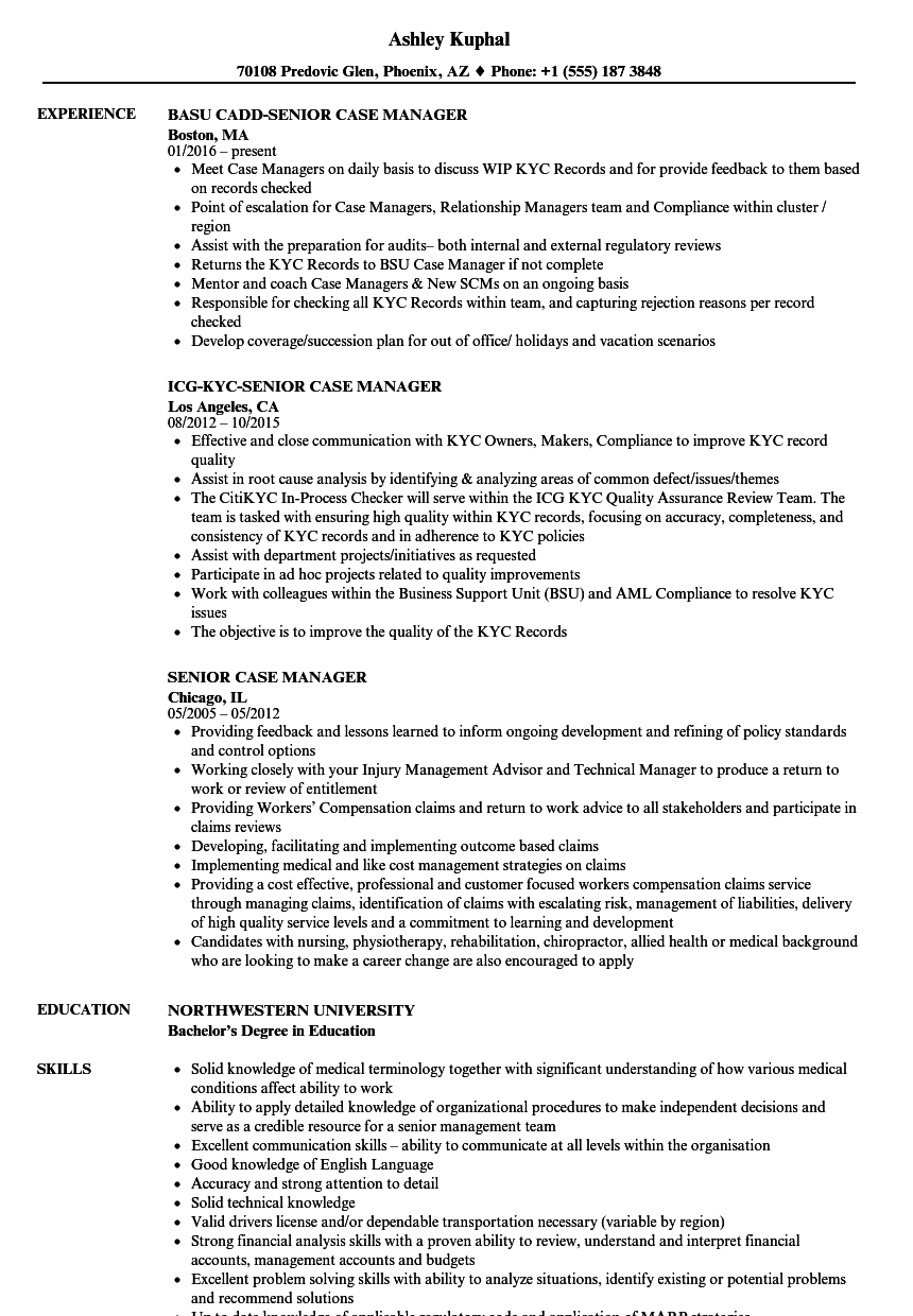 senior case manager resume samples