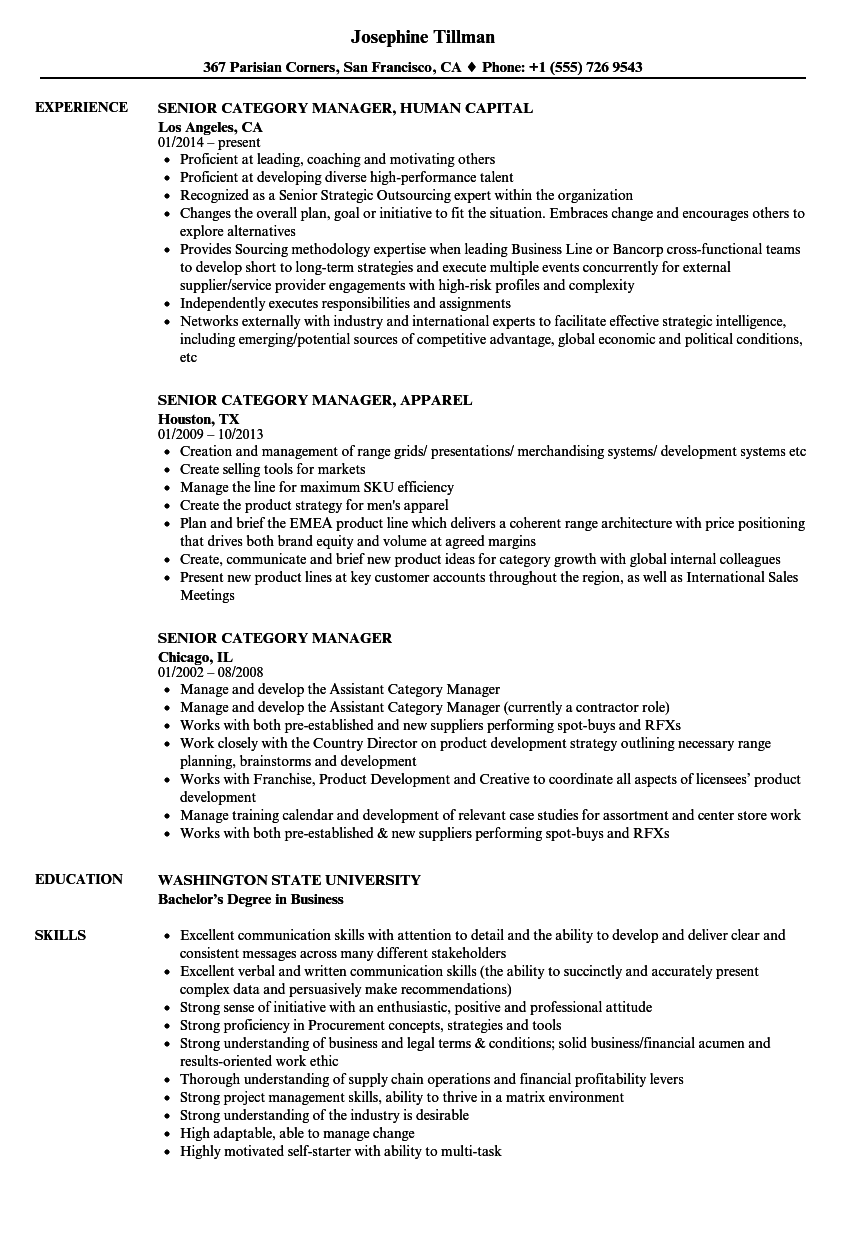 Download Senior Category Manager Resume Sample As Image File