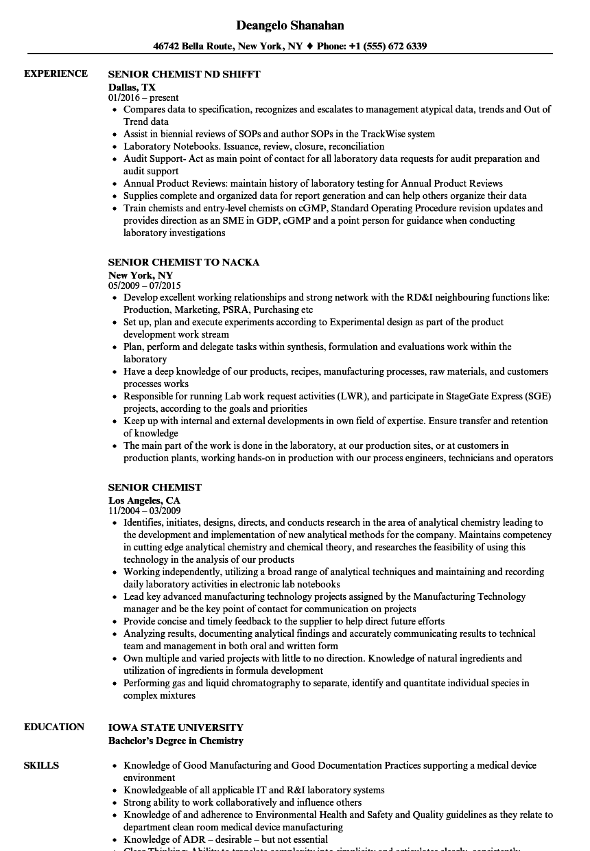 senior chemist resume samples velvet jobs