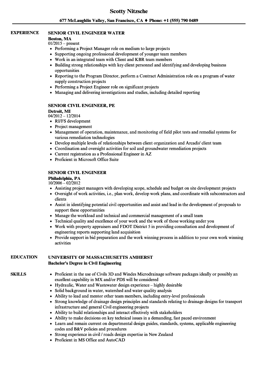 senior civil engineer resume samples velvet jobs