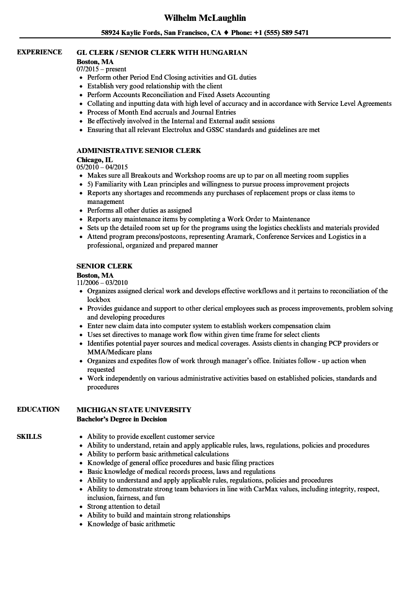 Senior Clerk Resume Samples | Velvet Jobs