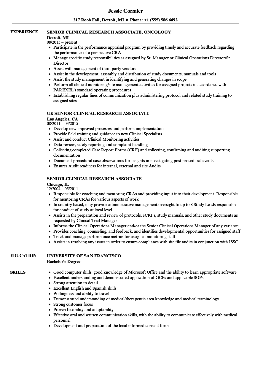 Senior Clinical Research Associate Resume Samples Velvet Jobs
