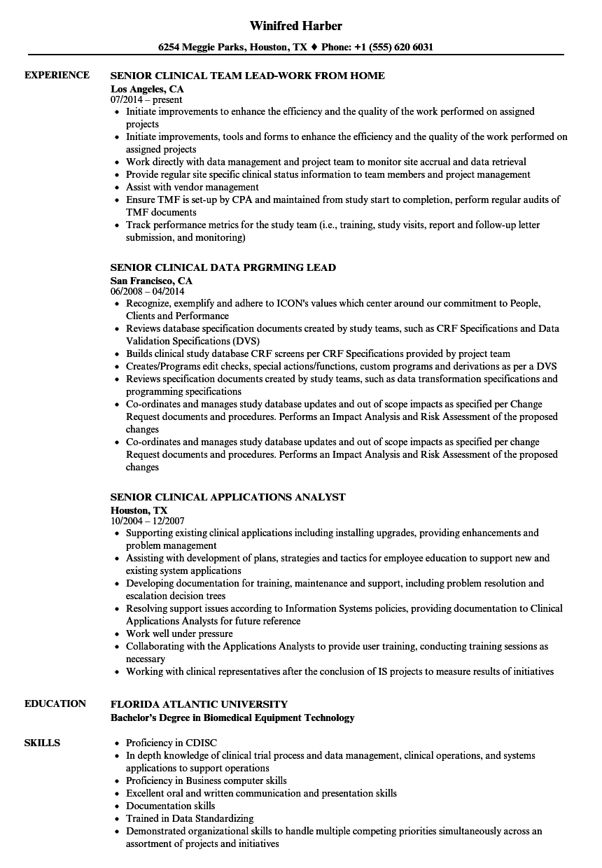 senior clinical resume samples
