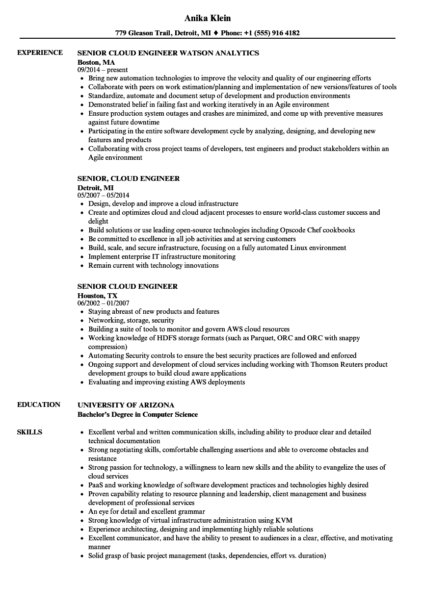 Senior Cloud Engineer Resume Samples | Velvet Jobs