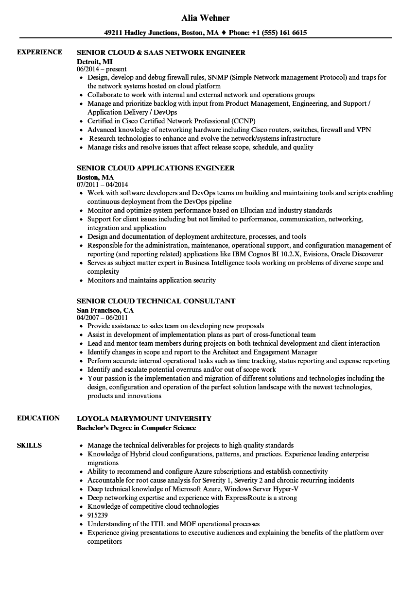 senior cloud resume samples