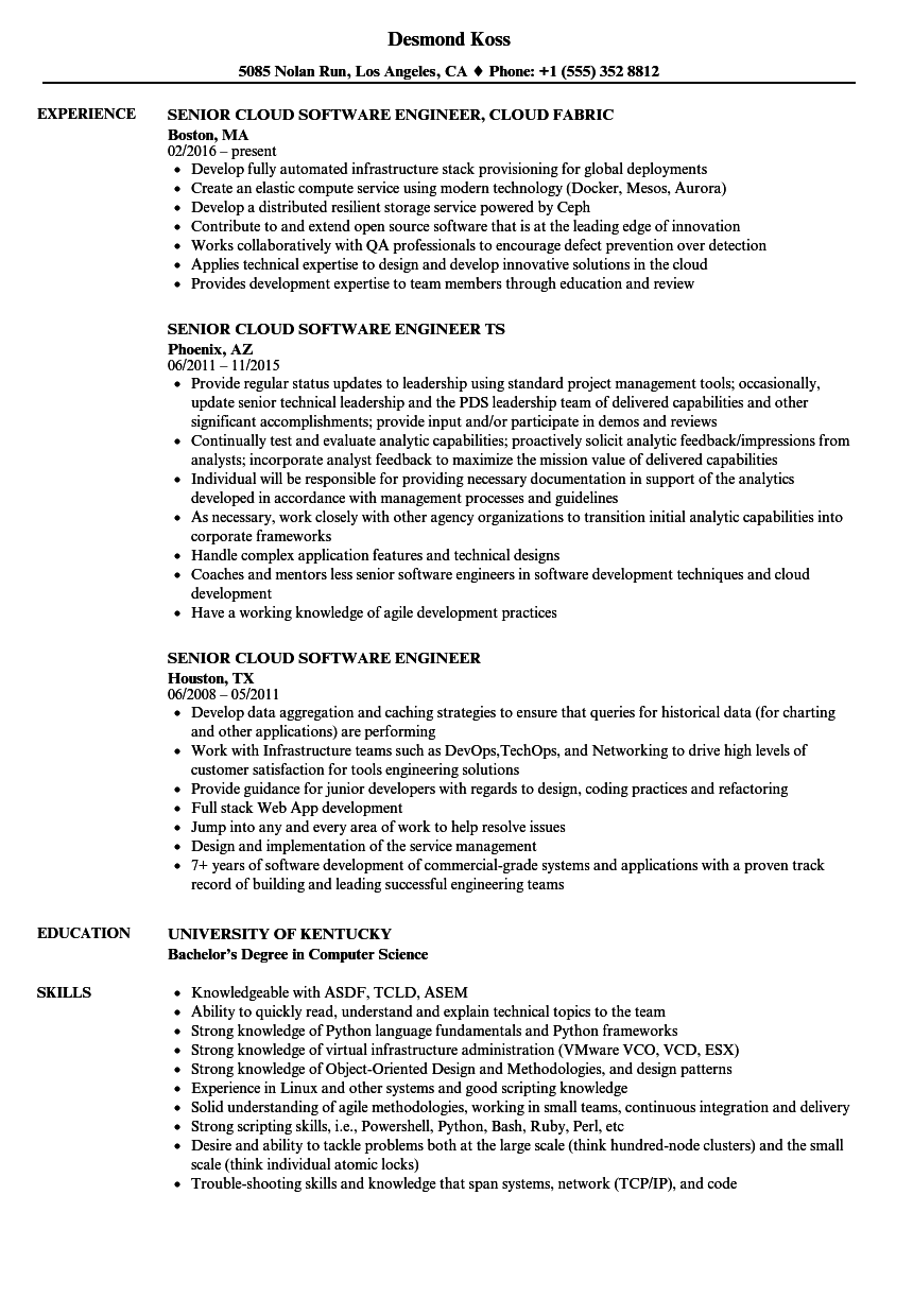 Senior Cloud Software Engineer Resume Samples Velvet Jobs