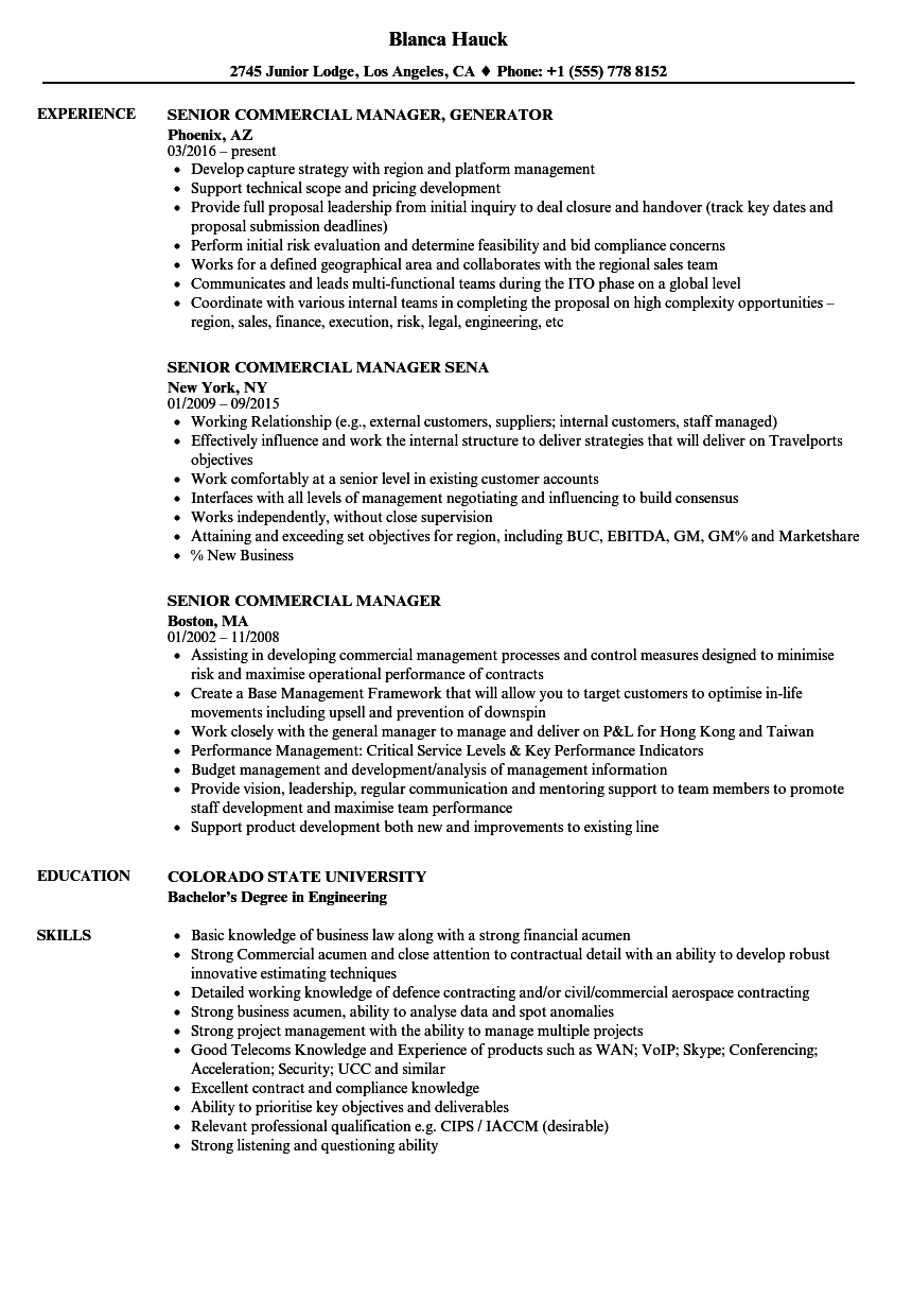 Senior Commercial Manager Resume Samples | Velvet Jobs