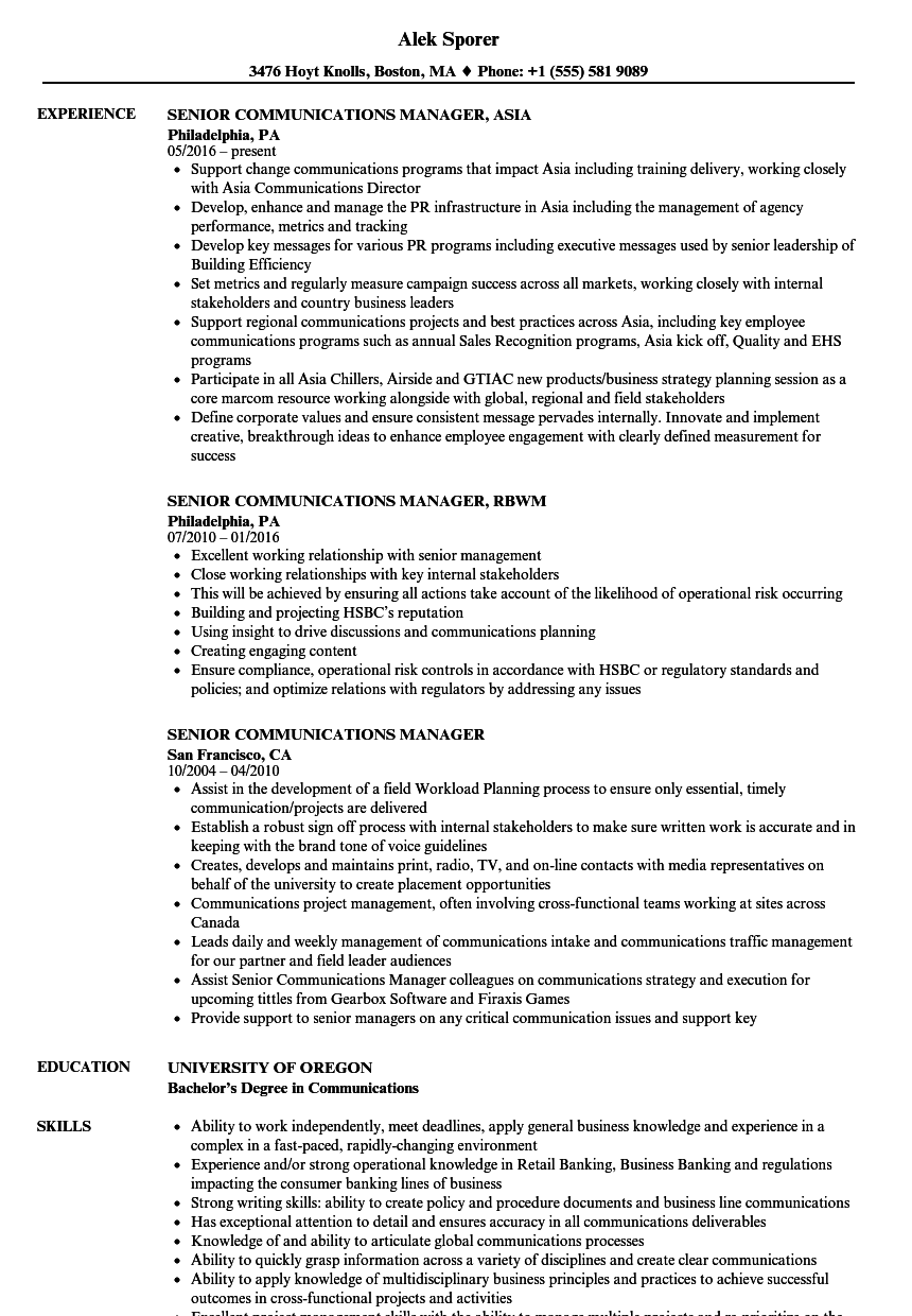 senior communications manager resume samples