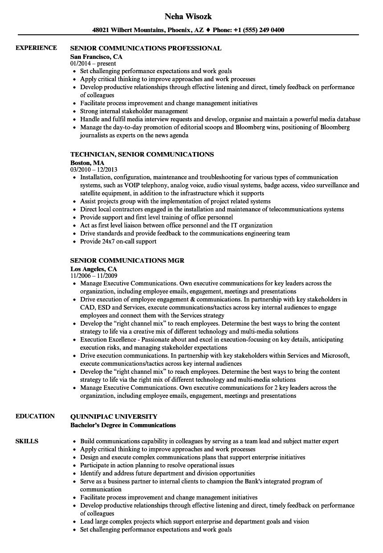 senior communications resume samples