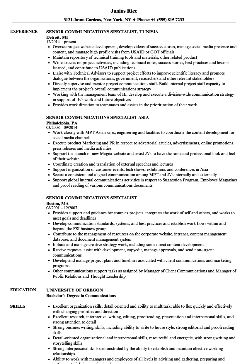 senior communications specialist resume samples