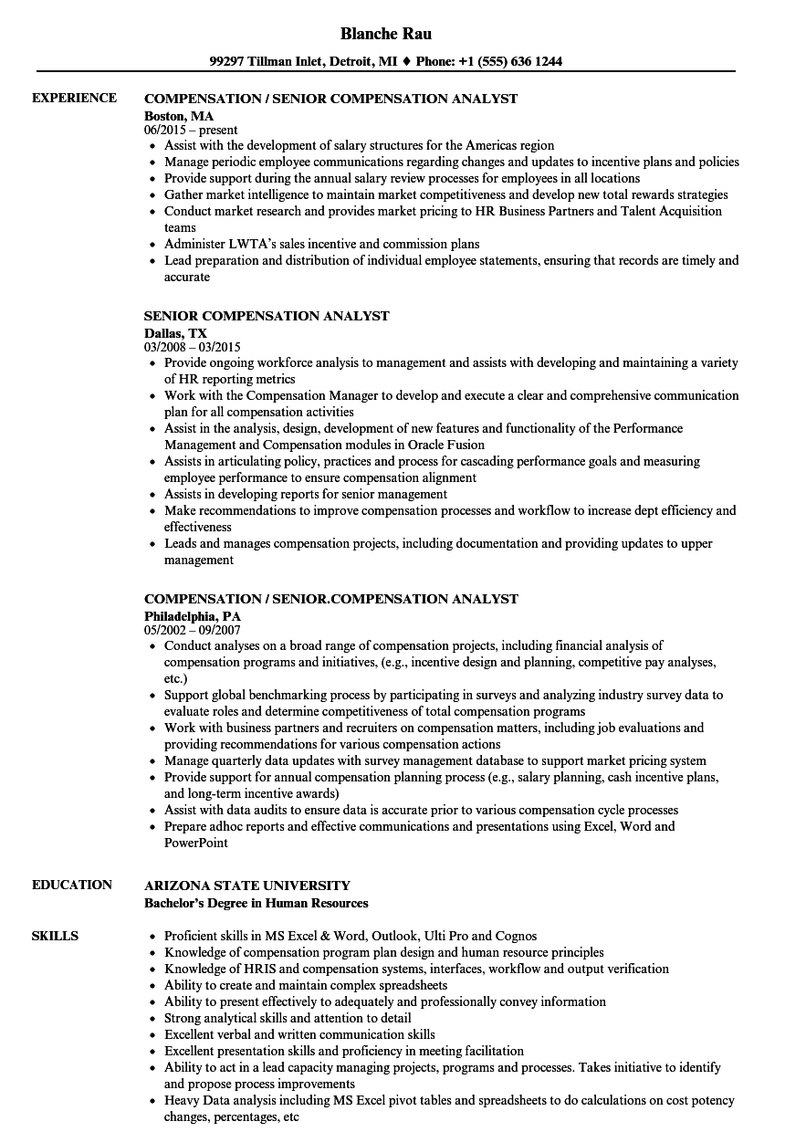 senior compensation analyst resume samples