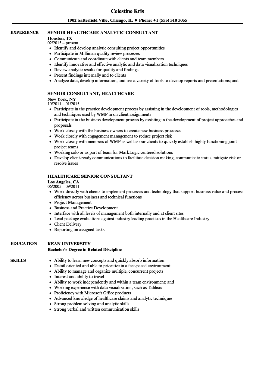 Senior Consultant, Healthcare Resume Samples | Velvet Jobs