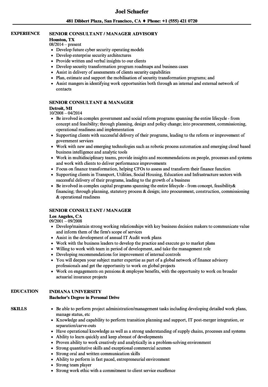 Senior Consultant / Manager Resume Samples | Velvet Jobs
