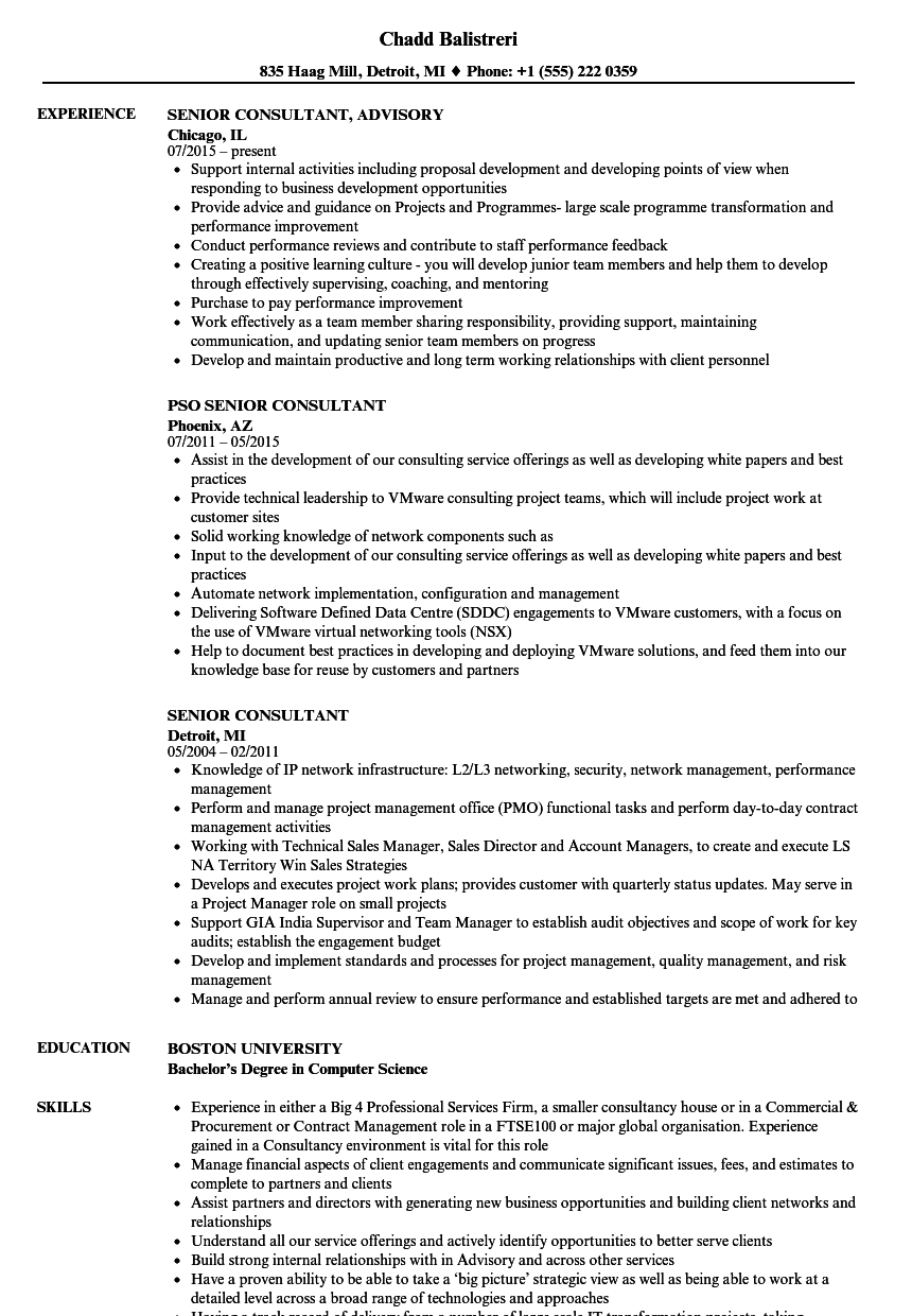 Senior Consultant Resume Samples | Velvet Jobs