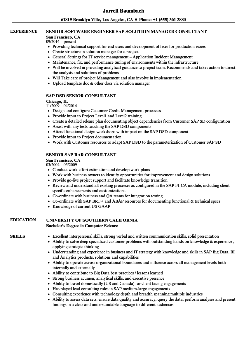 senior consultant sap resume samples