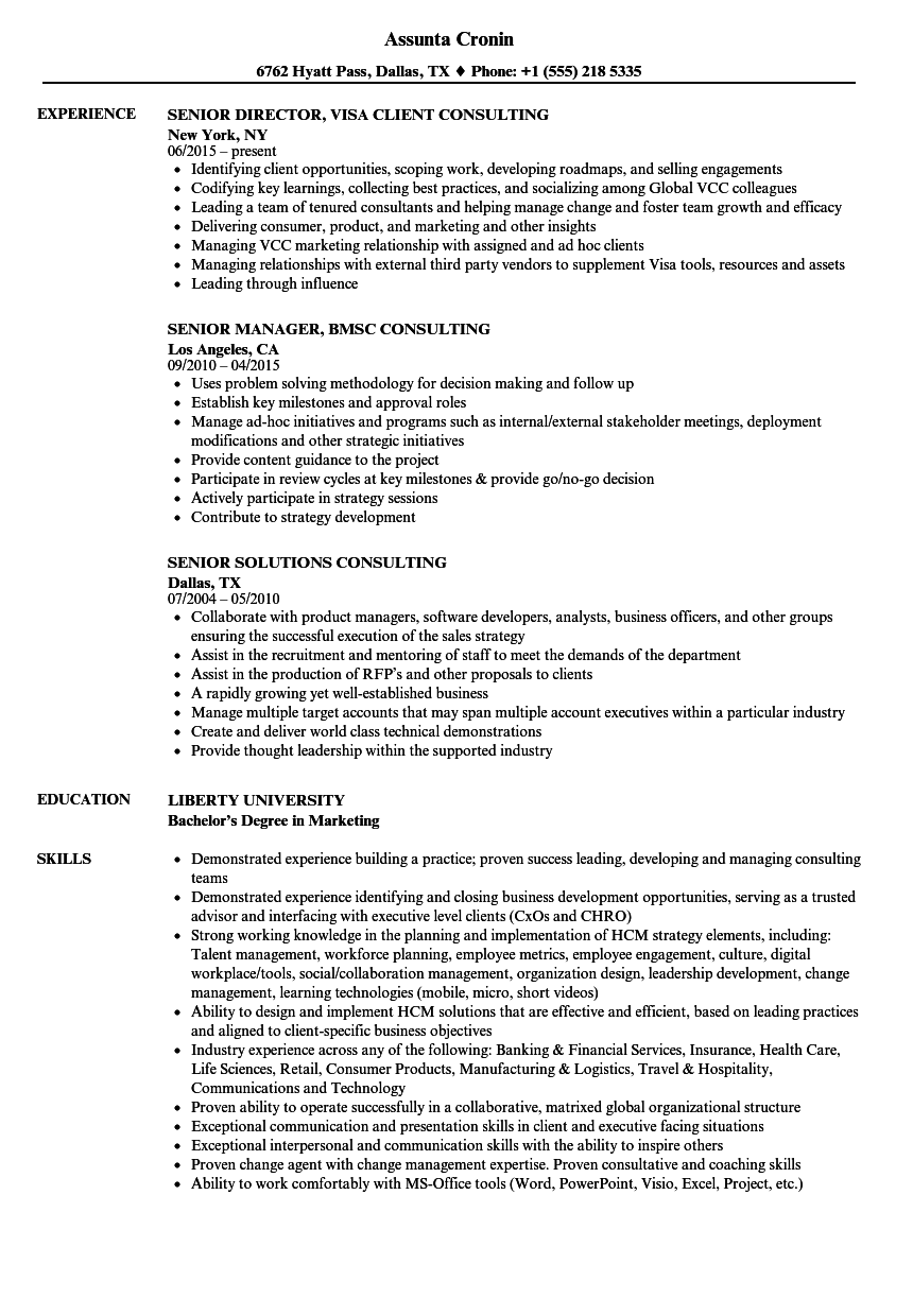 senior consulting resume samples