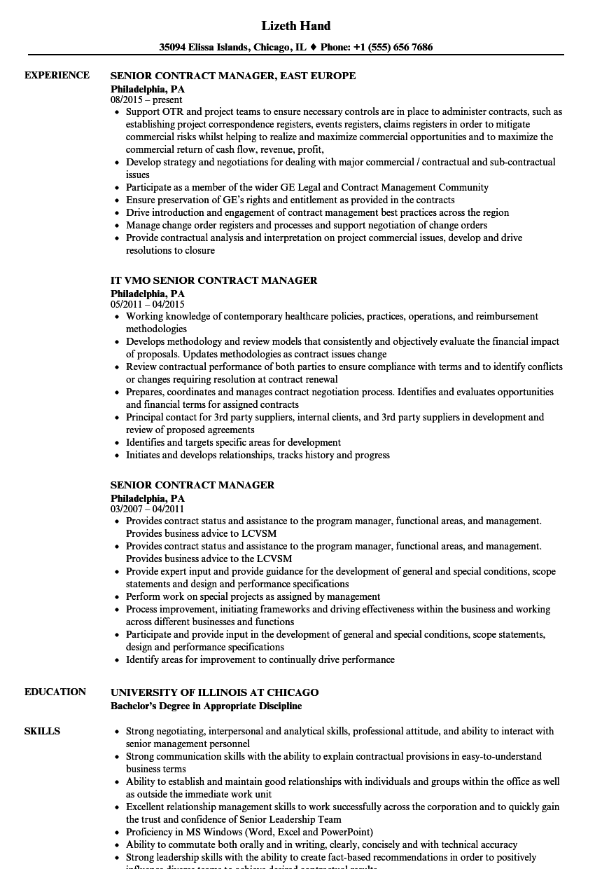 senior contract manager resume samples