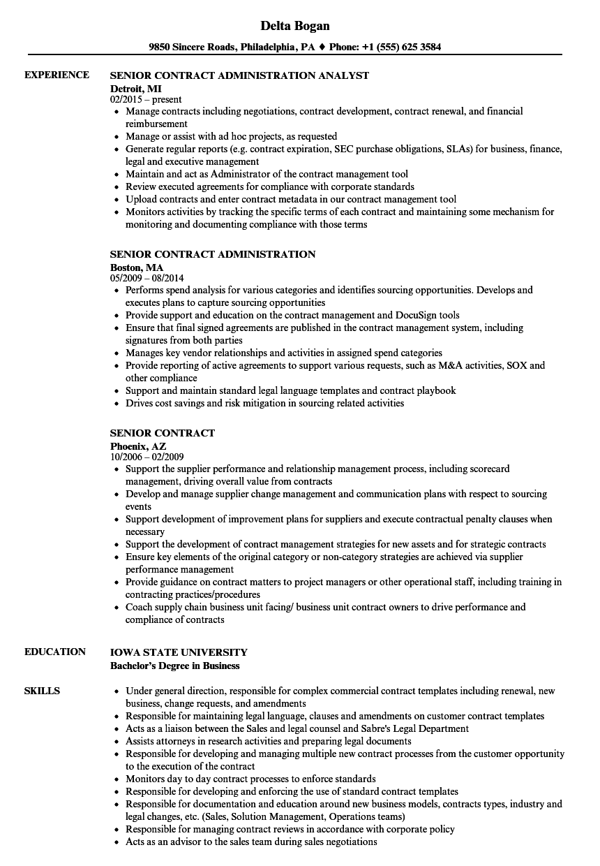 senior contract resume samples