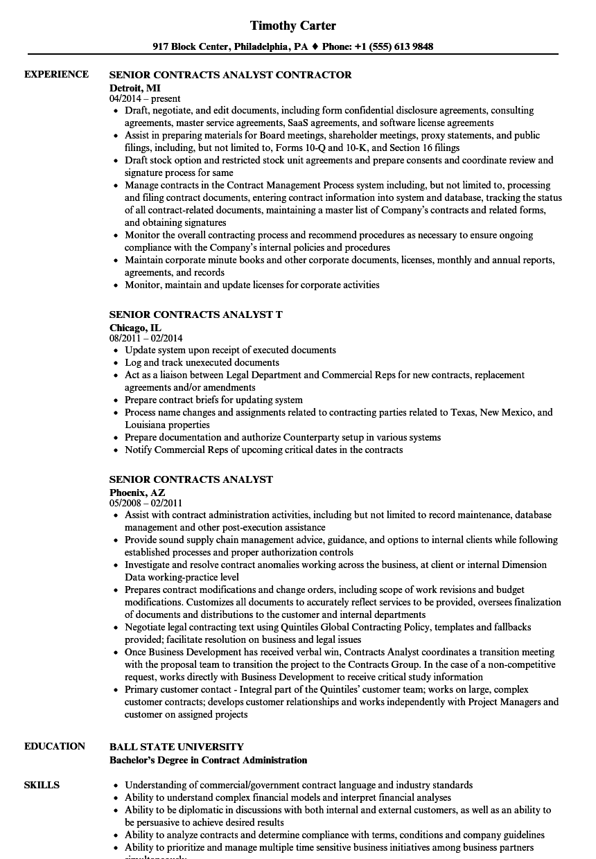 download senior contracts analyst resume sample as image file - Contractor Resume Sample