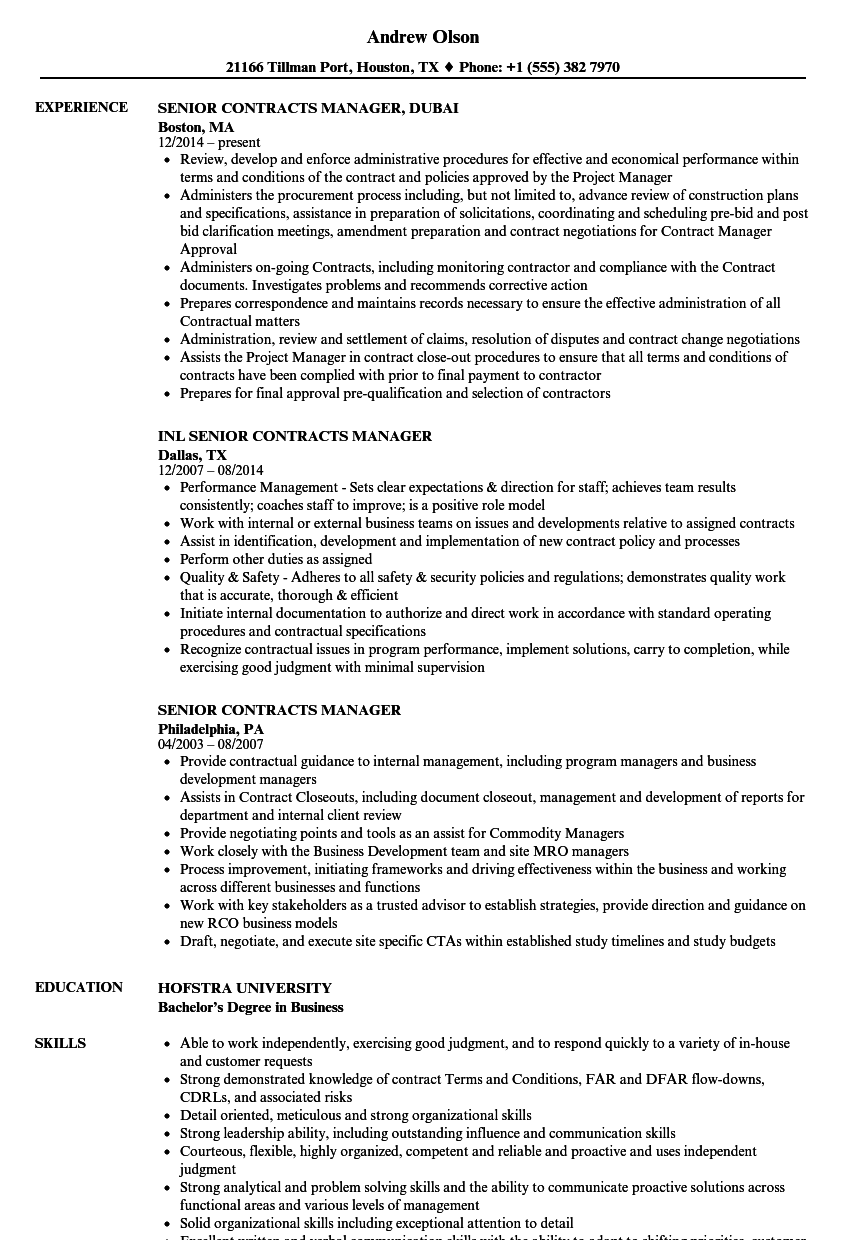 senior contracts manager resume samples