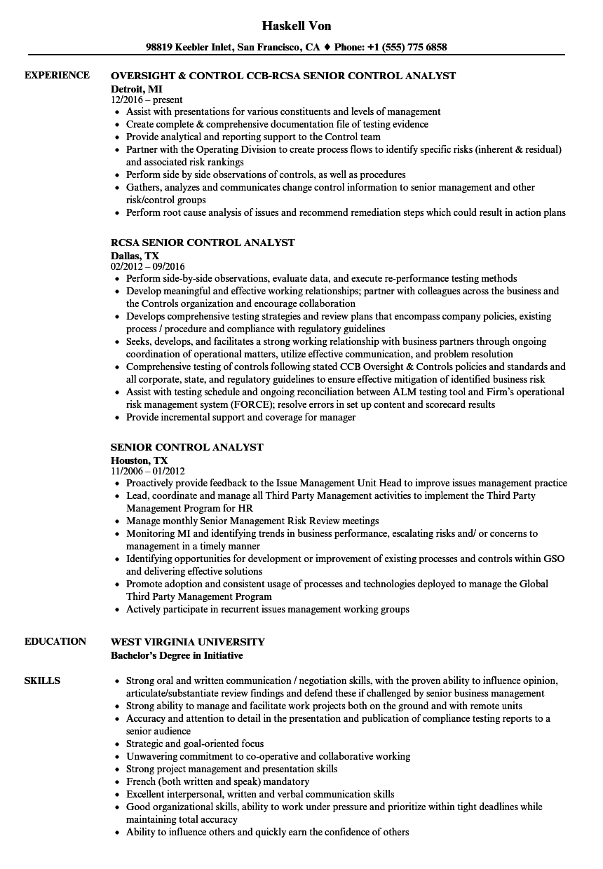 Download Senior Control Analyst Resume Sample As Image File