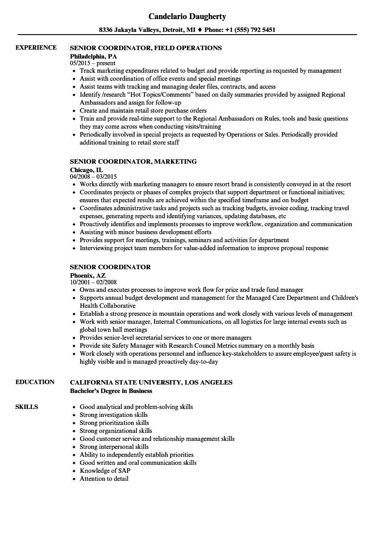senior coordinator resume samples