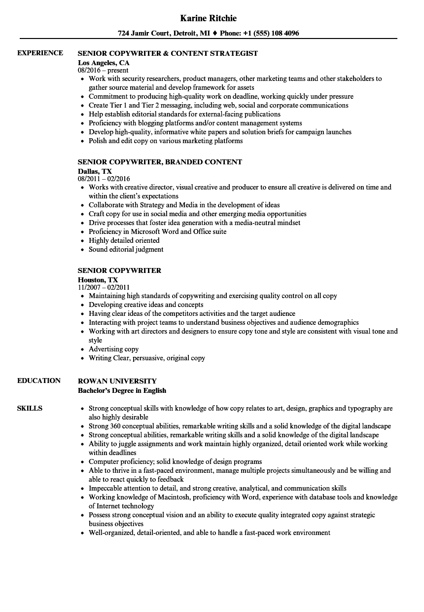 Senior Copywriter Resume Samples | Velvet Jobs