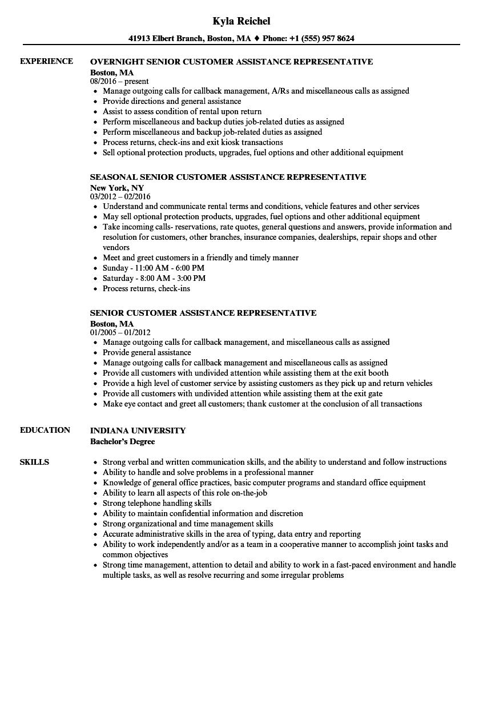 senior customer service representative job description