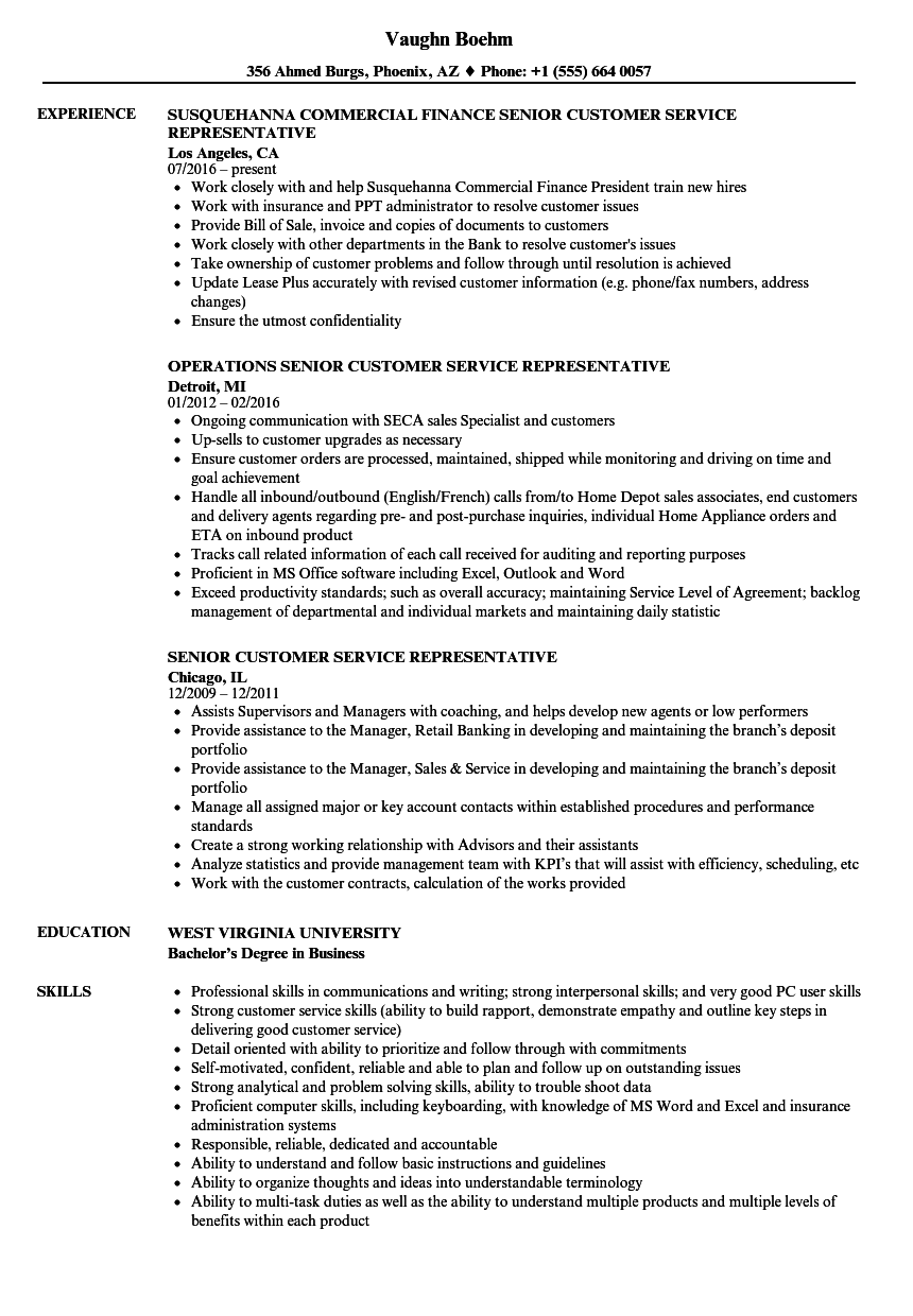 Senior Customer Service Representative Resume Samples | Velvet Jobs
