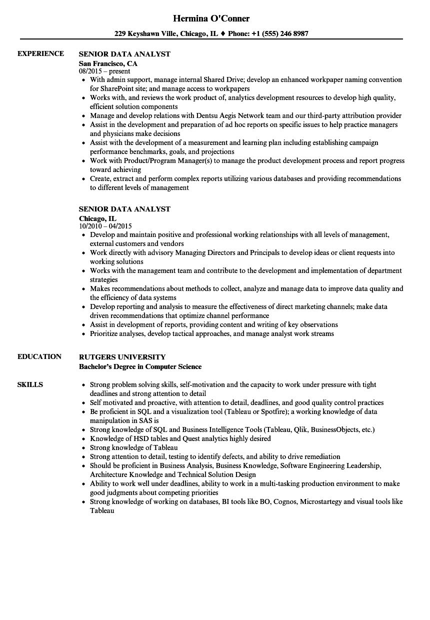 Senior Data Analyst Resume Samples | Velvet Jobs