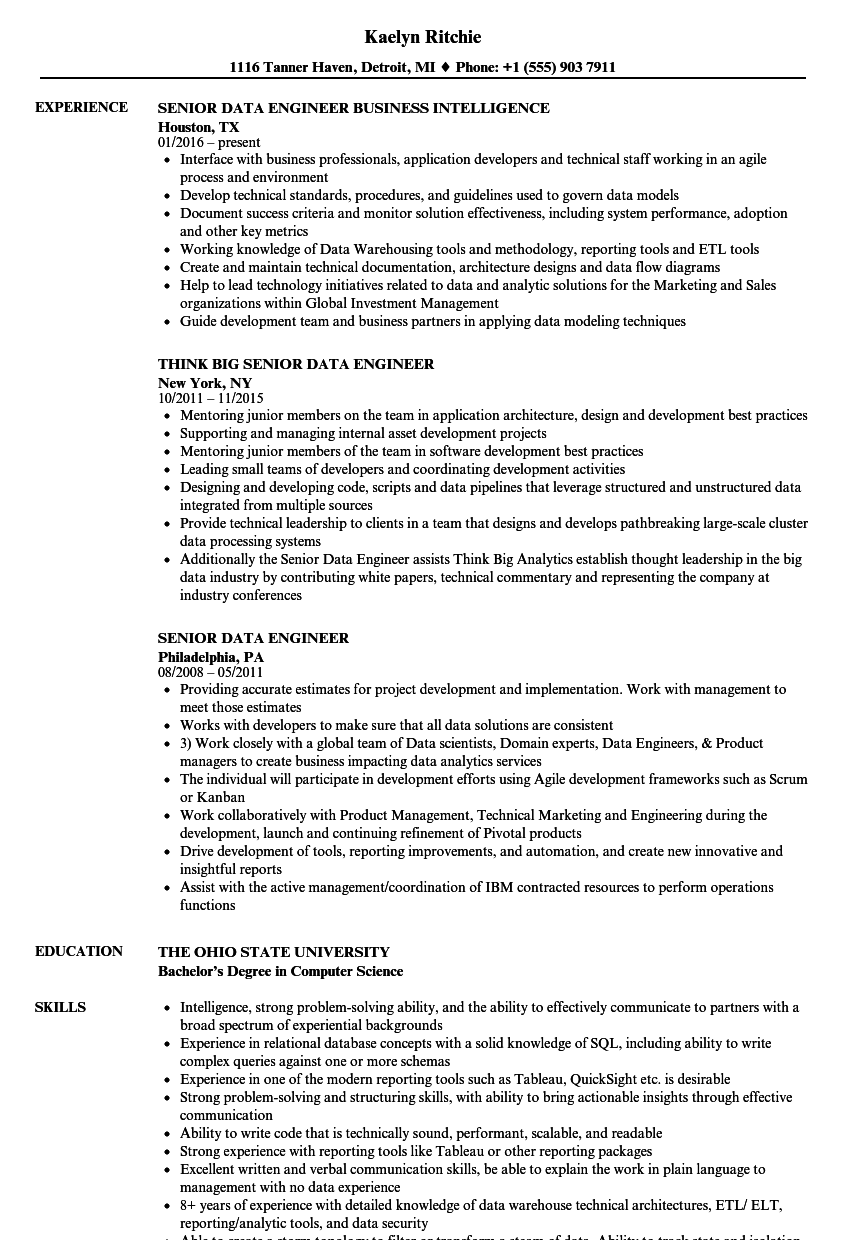 senior data engineer resume samples