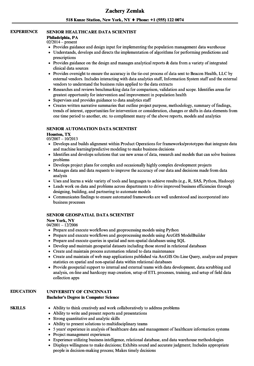 Senior Data Scientist Data Scientist Resume Samples Velvet Jobs