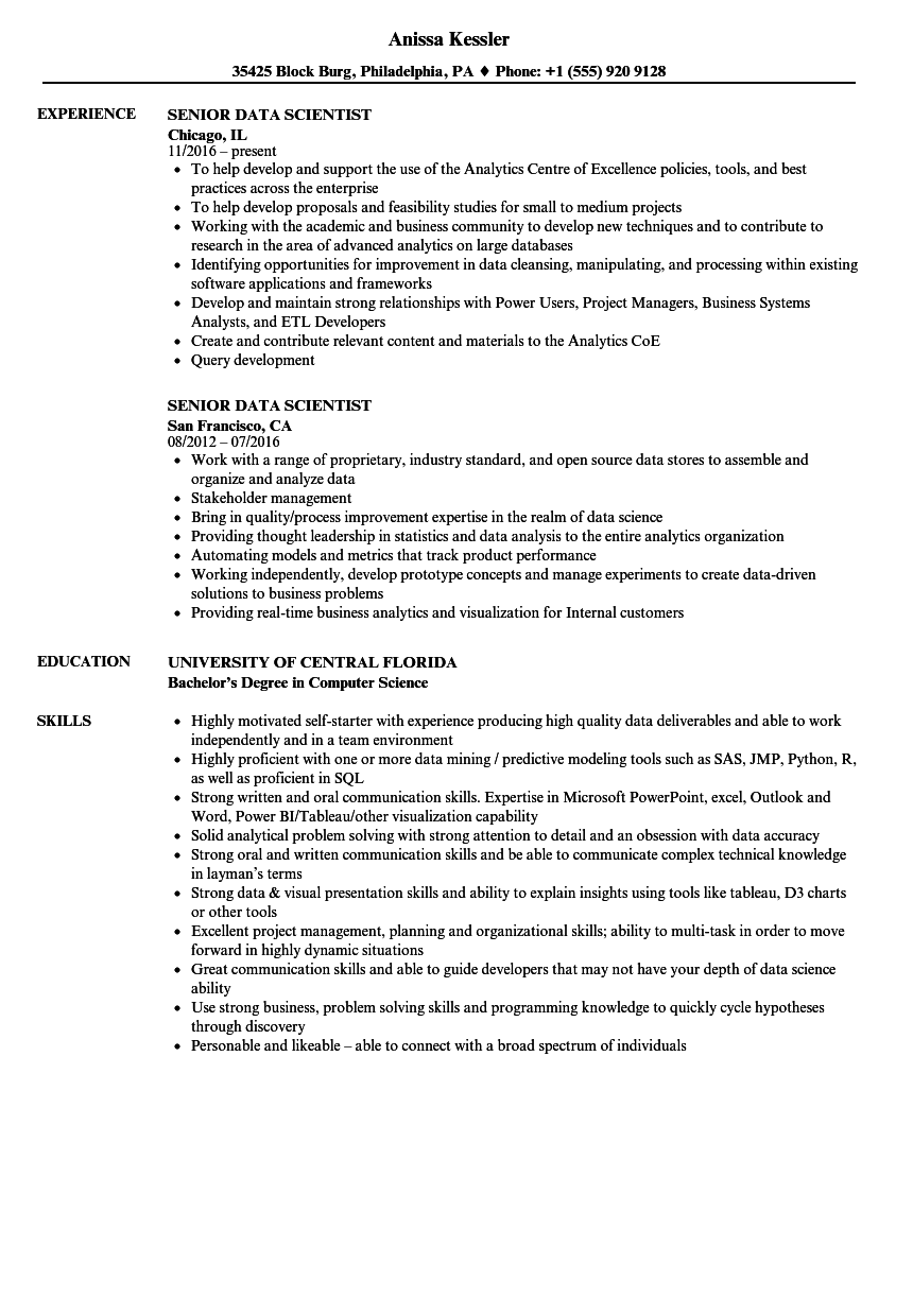 download senior data scientist resume sample as image file - Data Science Resume