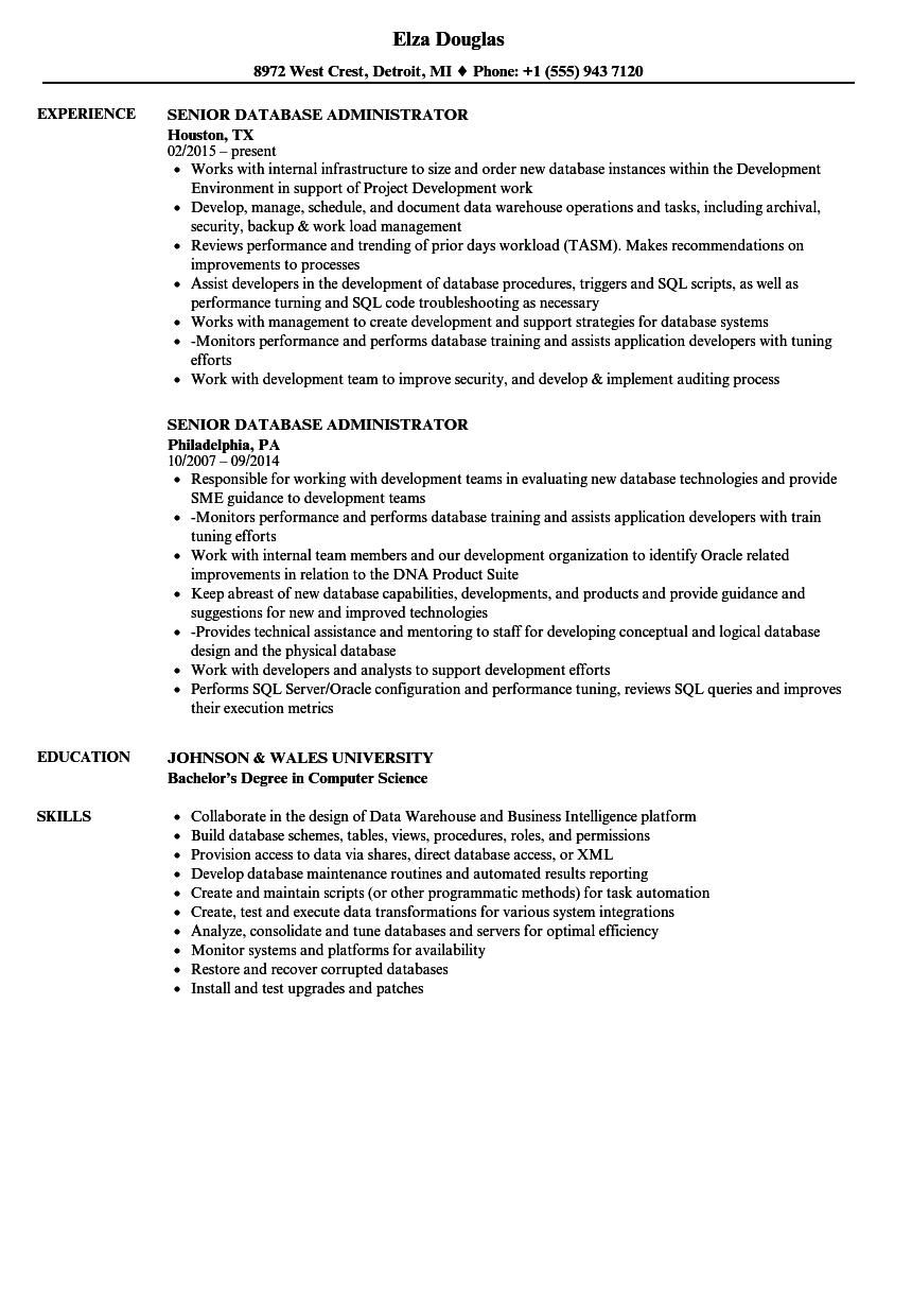 Senior Database Administrator Resume Samples | Velvet Jobs