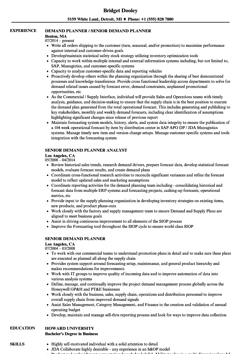 senior demand planner resume samples