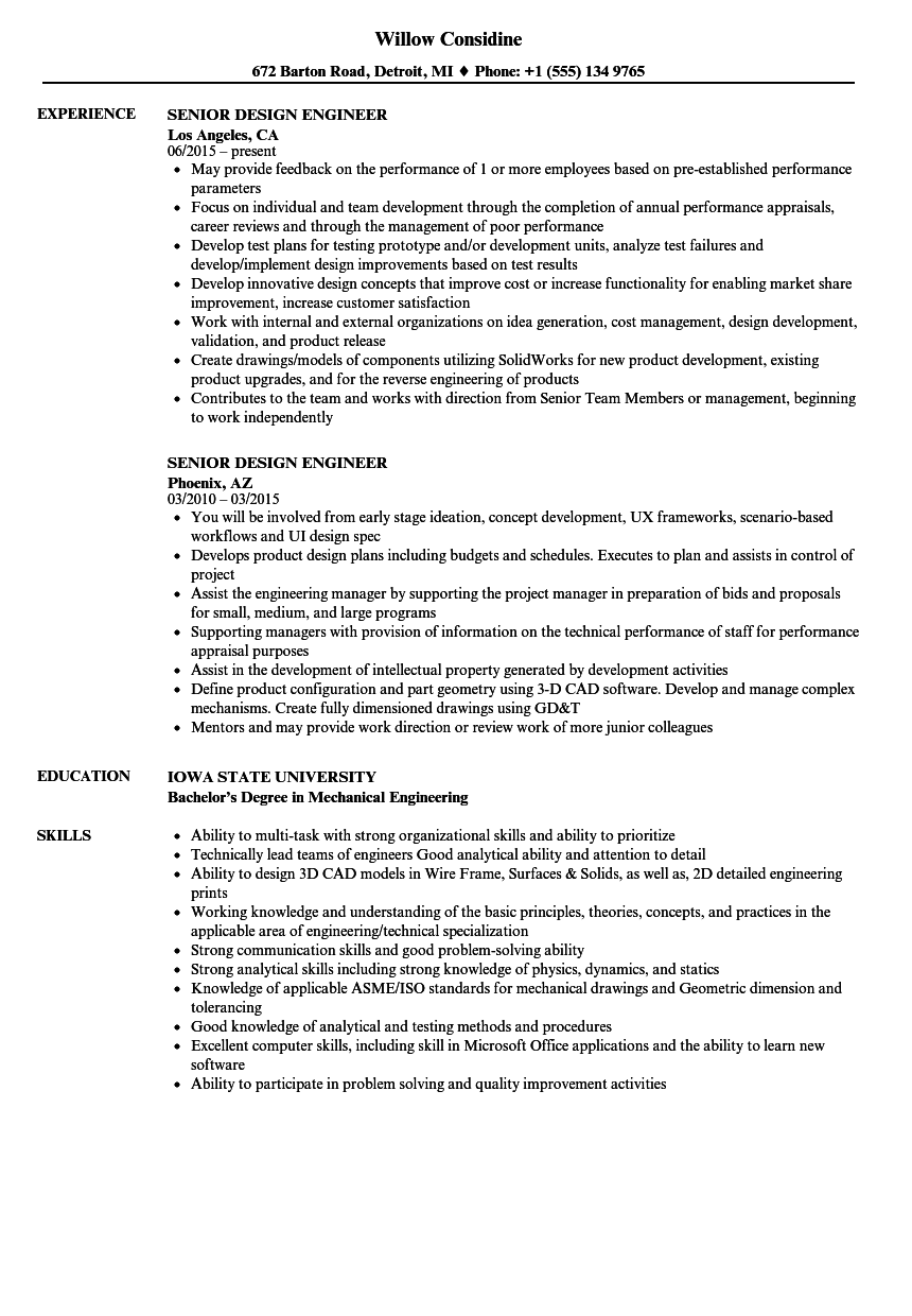 Senior Design Engineer Resume Samples Velvet Jobs