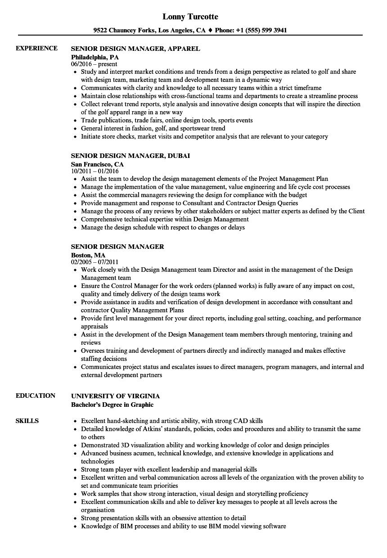 senior design manager resume samples