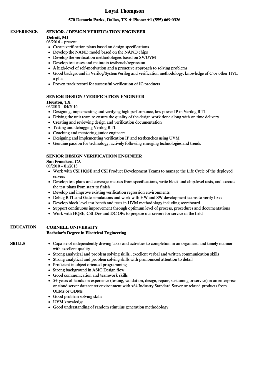 senior design verification engineer resume samples