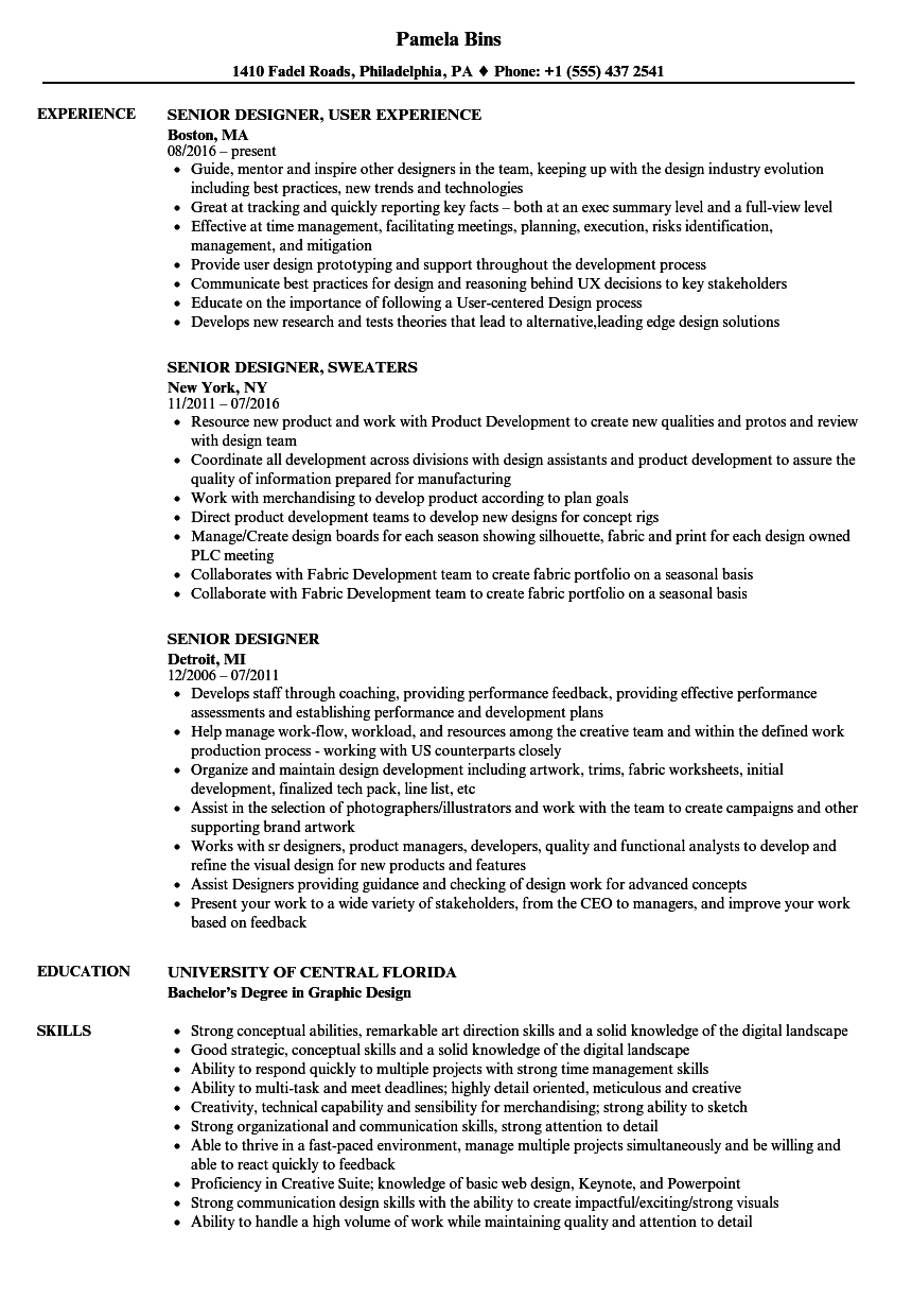 Senior Designer Resume Samples Velvet Jobs