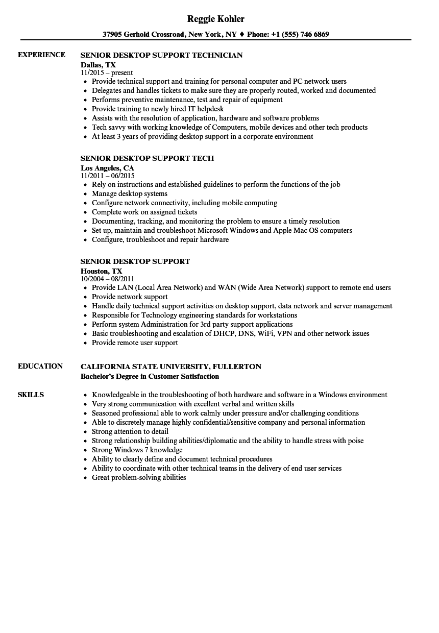 Senior Desktop Support Resume Samples | Velvet Jobs