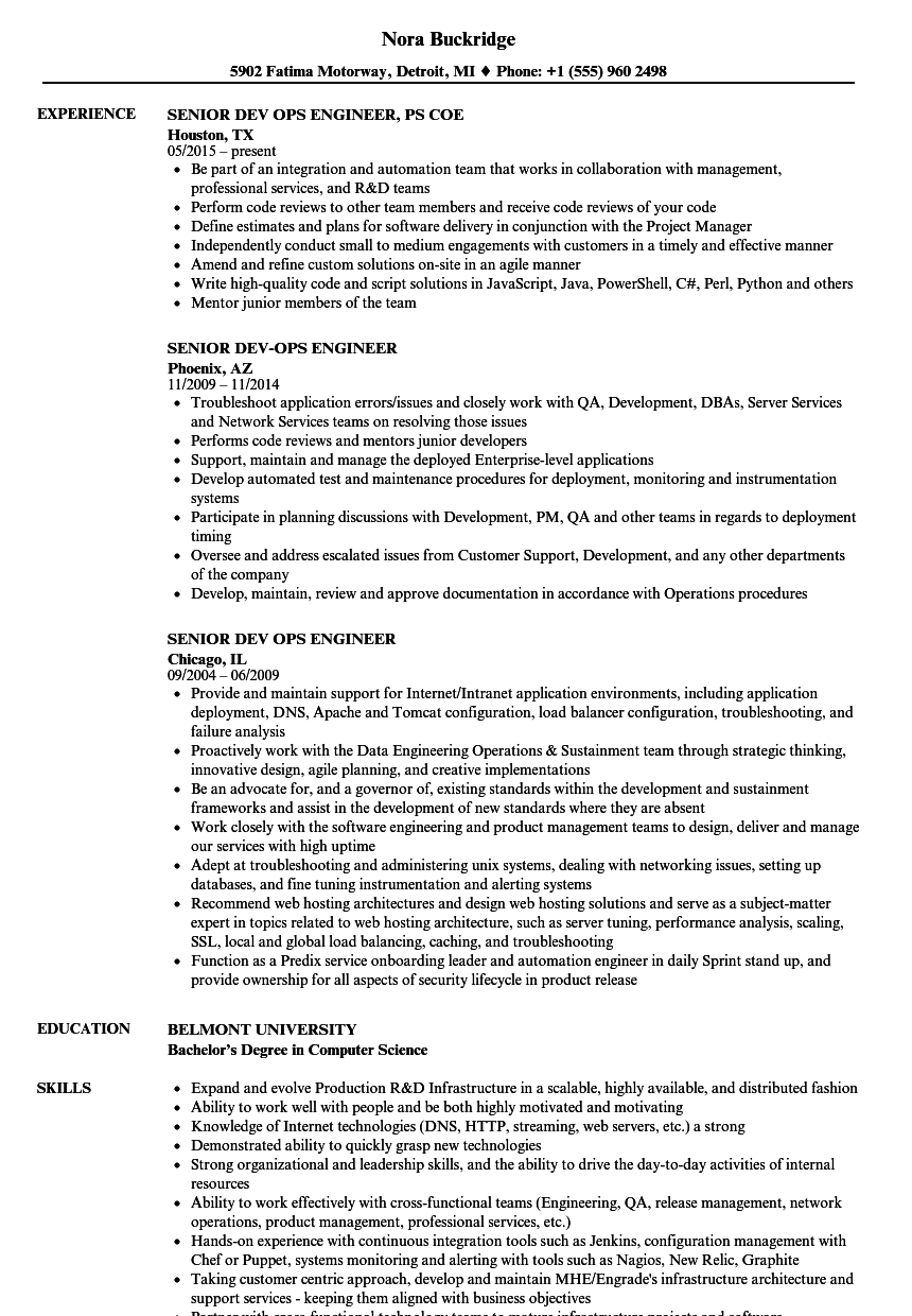 senior dev ops engineer resume samples