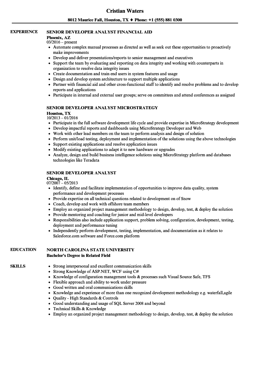 senior developer analyst resume samples