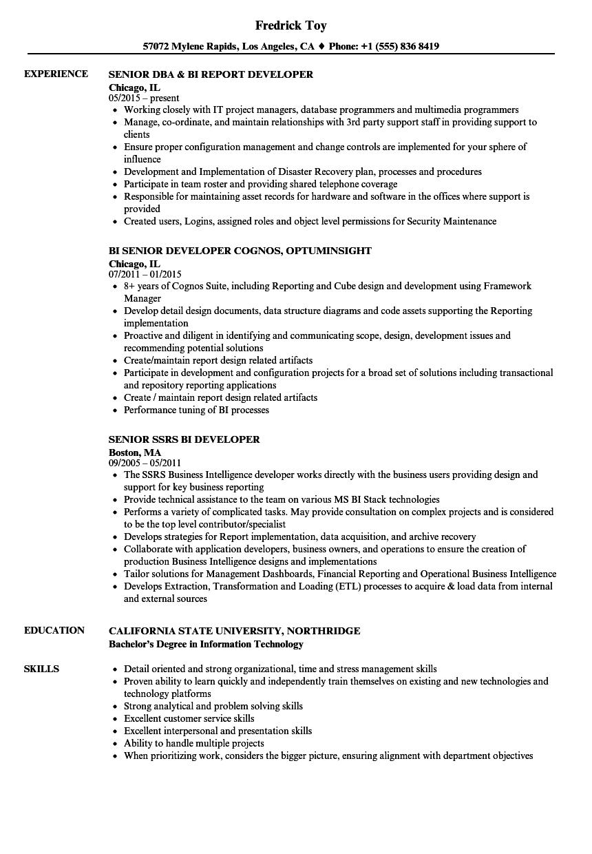 senior-developer-bi-resume-sample Template Cover Letter Best Oracle Business Intelligence Resume Oepewm on