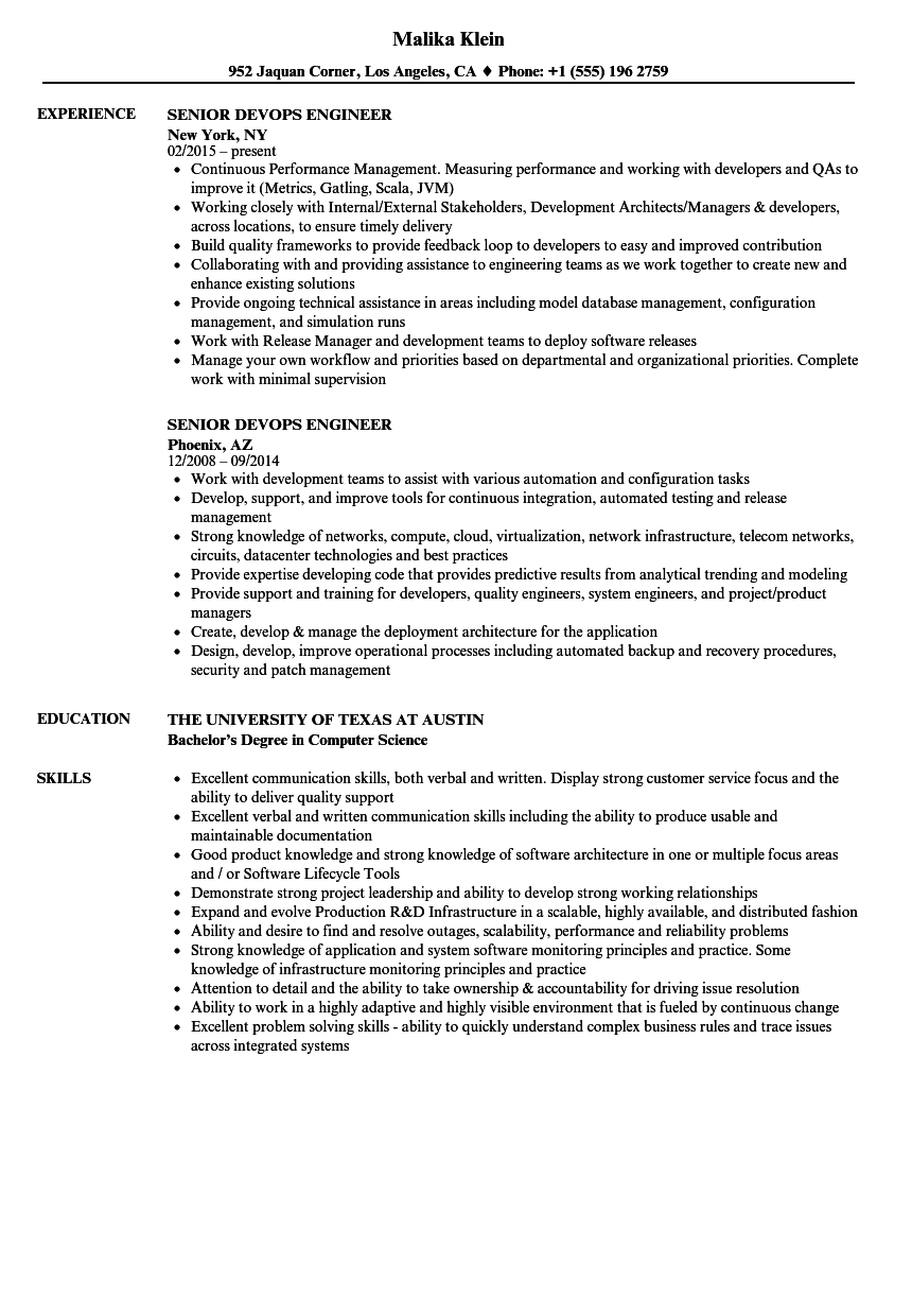 Senior Devops Engineer Resume Samples | Velvet Jobs