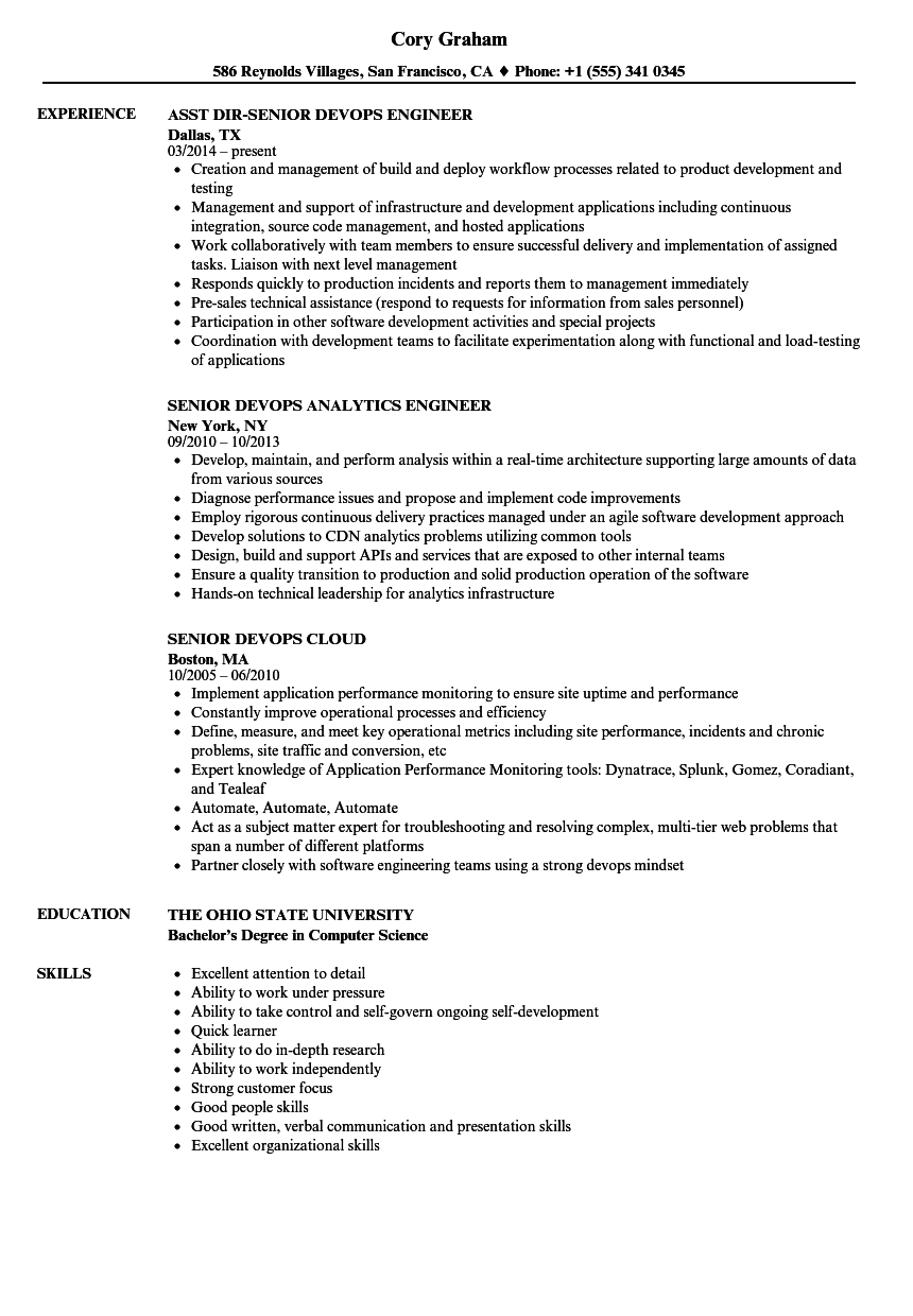 Senior Devops Resume Samples Velvet Jobs