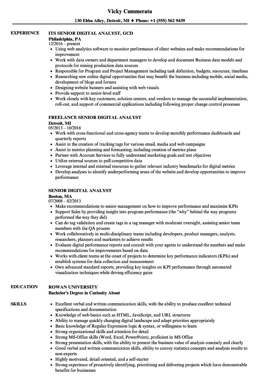senior digital analyst resume samples