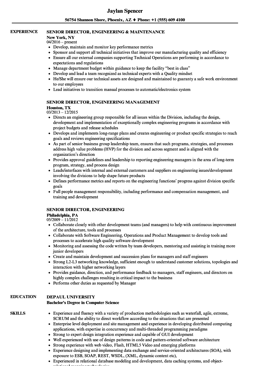 Senior Director Engineering Resume Samples Velvet Jobs