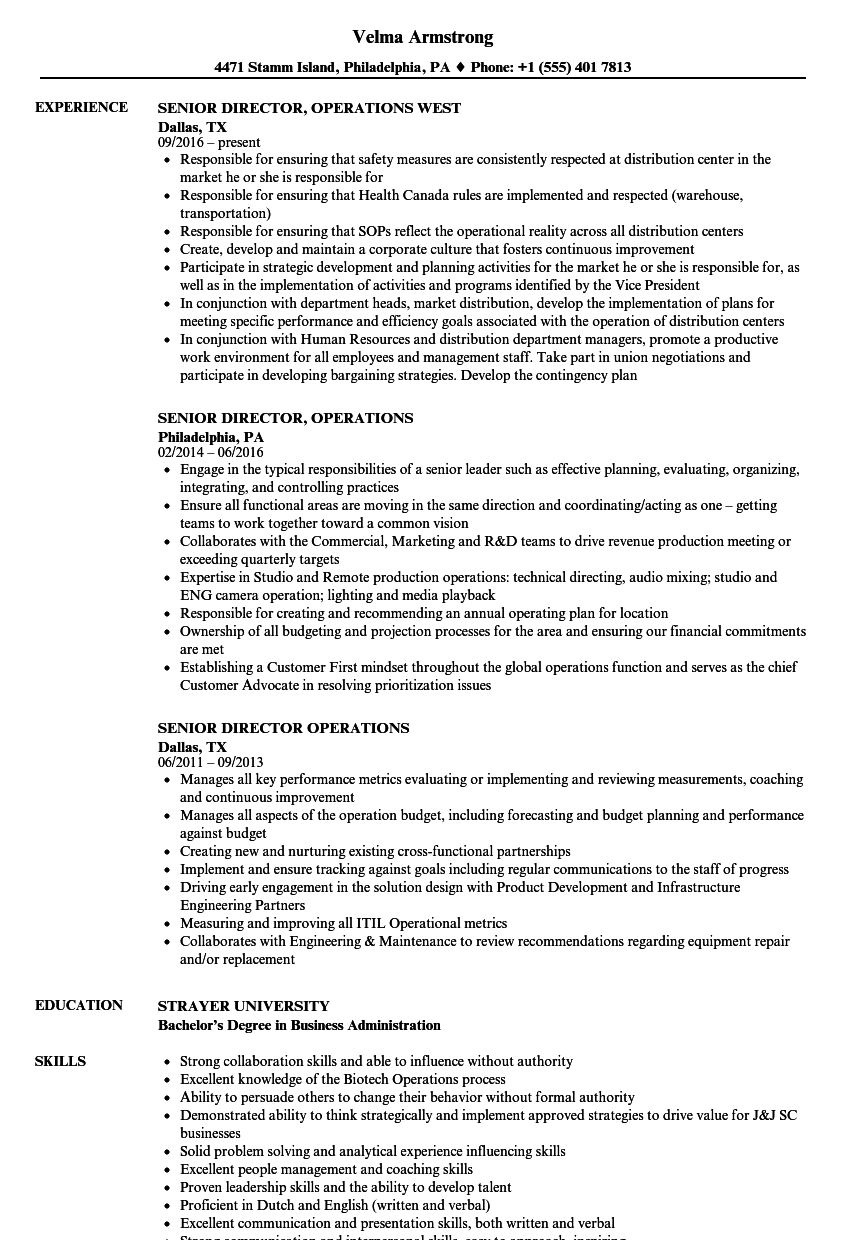 Senior Director Operations Resume Samples | Velvet Jobs