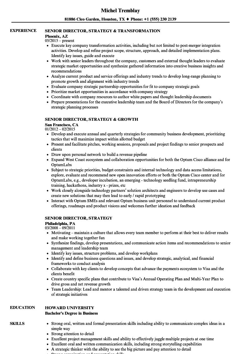 Senior Director Strategy Resume Samples Velvet Jobs